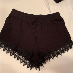 Black draw string lace shorts